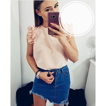 Women Blouse 2019 Summer New Fashion Sexy O-Neck Sleeveless Ruffles Shirts Casual Slim Solid Blusas Plus Size Tee Tops