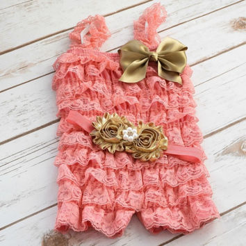 Cake Smash Outfit Girl, Baby Girl 1st Birthday Outfit, Baby Girl Romper, Coral and Gold Romper, Birthday Romper, Cake Smash Outfit, Romper