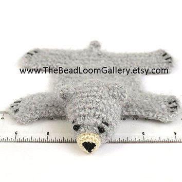 Dollhouse Miniature Knitted Bear Skin Rug - Grey - Limited Edition