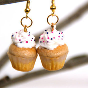 Vanilla Cupcake Dangle Earrings