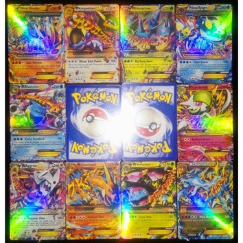 100pcs New Mega EX Pokemon cards charizard pack in English XY Shiny Palying Game Card set Cheap gift for kids (Color: Silver) [9305766855]