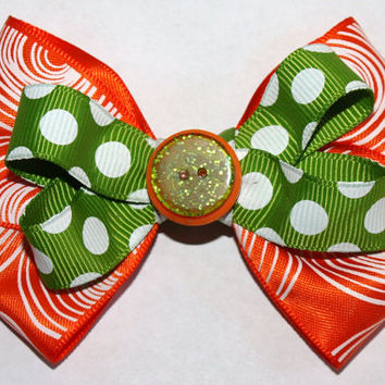 Orange and green Halloween bow- bright hair bow- costume accessories