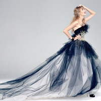 Fashion 2016 Strapless Ball Gown Organza Backless off the shoulder Sleeveless appliques Floor-Length prom dresses royal train