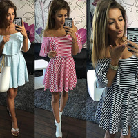 Stripe Print Off the Shoulder Overlay Skater Mini Dress