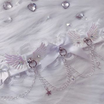 MADE TO ORDER: White Angelic Swarovski Lace Victorian Elegant Stars Chain Collar