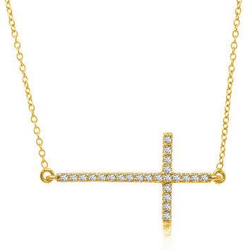 14K Yellow Gold Straight Diamond Studded Cross Necklace (.25ct tw)