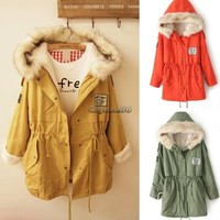 Coat Jacket Fleece Hooded Fur Collar Womens Outerwear Winter Hoodies Korean CaF8