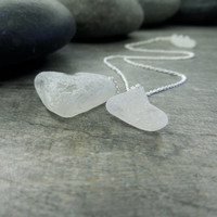Sea Glass Necklace Abstract Love Three Hearts Nautical Jewelry Beach Comber Wave Tumbled Frosted White Teeny Tiny Ethereal Zen Simple Style