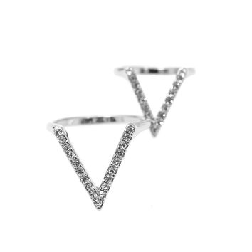 Perfect Crystal V Shape Ring and Midi Fashion Ring Set of 2