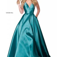 Sherri Hill 51856 Classic V-Neck Satin Ball Gown