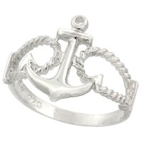 Sterling Silver Anchor Ring 9/16 inch (14 mm) long, size 6