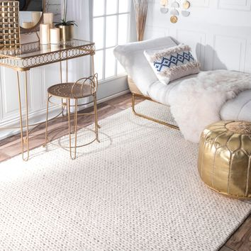 nuLOOM Handmade Braided Cable White New Zealand Wool Rug (8' x 10') | Overstock.com Shopping - The Best Deals on 7x9 - 10x14 Rugs