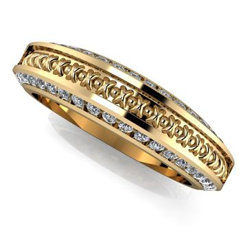 Women's Diamond Wedding Band - Inlay Wedding Band - 14 kt Gold Wedding Band
