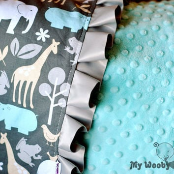 Zoology in Sea Minky Baby Blanket with Satin Trim by MyWoobyandMe