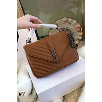 YSL 2018 new trend female twill flip chain bag shoulder diagonal handbag #7