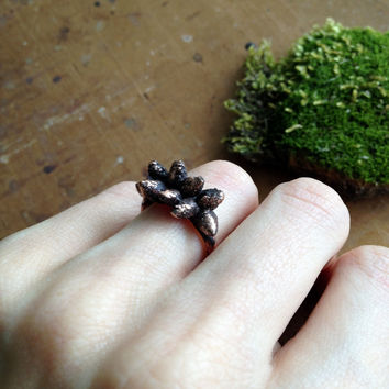 Tree Bud Ring - Electroformed Copper - Size 6.5