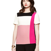 Kate Spade Colorblock Short Sleeve Top Rose Jade Multi