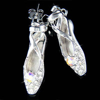 Swarovski Crystal Ballerina Shoes Slippers Ballet Dance Charm Pendant Earrings Christmas Gift New for The Nutcracker Swan Lake Lover