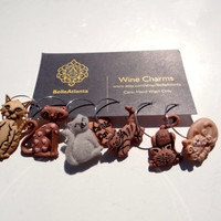 CAT LADY Wine Charms, Cat Lady Stemware Charms, MEOW Wine Charms, Girl's Night Charms, Wine Night Charms, Wine Club Charms
