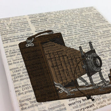 Ceramic Tile Coasters - Vintage Camera - Set of 4 - Upcycled Dictionary Page Book Art - Home Decor