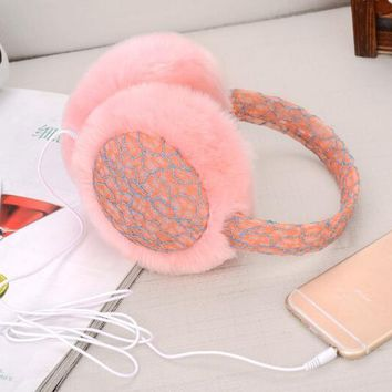 Plush Female Winter Earmuffs Thermal Earmuff Fur Headphones Ear Muff Incidental Music Earphones Ear Warmer Ear Protector