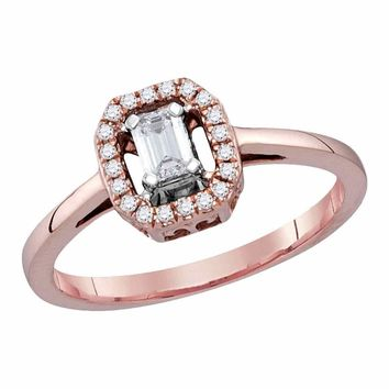 14kt Rose Gold Womens Emerald Diamond Solitaire Ring 1/4 Cttw