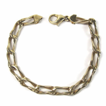 Vintage Italian 14K Yellow Gold Chain Bracelet 7 Inches