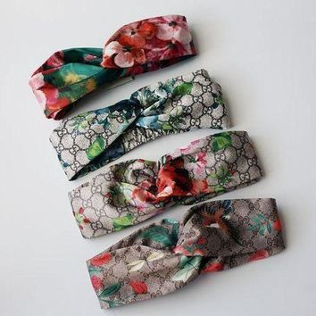 GUCCI Trending Blooms Popular Women Casual Print Silk Headband I