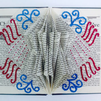 Red, White, and Blue Folded Book Art, Book Bloom, Folded Pages, Recycled, Upcycled, Repurposed