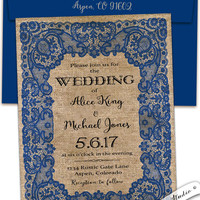 Vintage lace and burlap Royal blue wedding invitation cobalt elegant custom personalized professionally printed