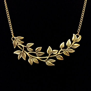 Antiqued bronze laurel leaf collar  necklace