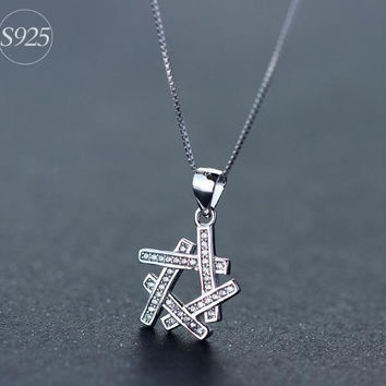 925 Sterling Silver star necklace,dainty diamond necklace,shining CZ star necklacea perfect gift