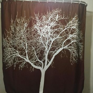 Bathroom Fabric Shower Curtain Waterproof Polyester Washable 3D printing  Big Tree Shower Curtains (180*180cm) E5M1