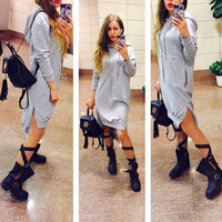 Long-Sleeve Hoodie Slit Shirt Dress