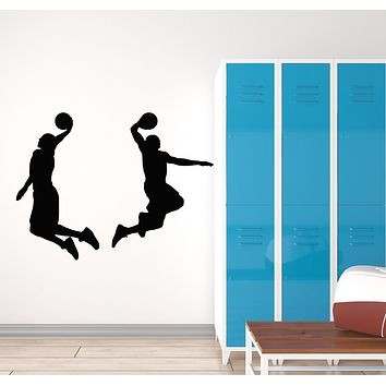 Vinyl Wall Decal Basketball Players Jump Game Ball Sport Boys Room Stickers Mural (g867)
