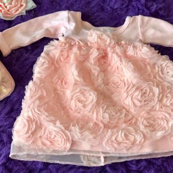 Bebemonde Beautiful  Fall Infant Baby Pink Rose Swirl Mesh Ribbon Baby Dress