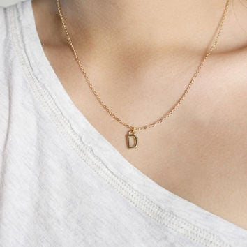 Tiny First Initial Gold Necklace, Letter Necklace, Initial Necklace, Friendship Necklace, Letter Charm
