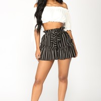 Janice Striped Woven Shorts - Black/White