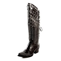 GORGEOUS TALL DOUBLE D RANCH LANE BLACK KILLA FLAG COWGIRL BOOTS DD9006A