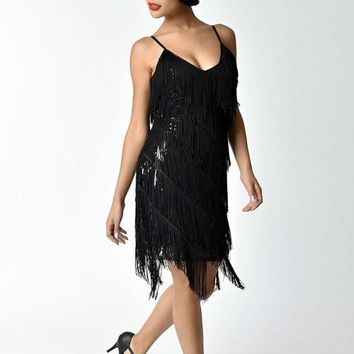 1920s Style Black Tiered Fringed Flapper Inspired Party Dress