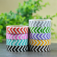 4M Stripe Washi Cotton Rolls Tape 15mm Roll Making Sticky Adhesive Craft Scrapbooking Glue Tape Paper Stickers