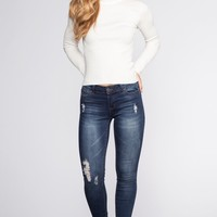 Stuck On You Distressed Jeans - Indigo