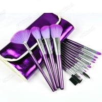 2012 Hot Fashion New 16 Pcs Pro Purple Makeup Eye Shadow Brush Cosmetic Set