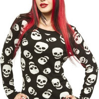 Sourpuss Lust for Skulls Black White Sweater