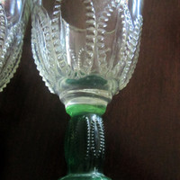 Green Stem Cordial Brandy Glasses Set of 4 Liquore Cut Glass