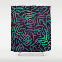 Watercolor Tropical Palm Leaves VII Shower Curtain by uniqued