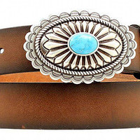 Ariat Women's Western Leather Belt & Turquoise Stone Oval Buckle-Brown