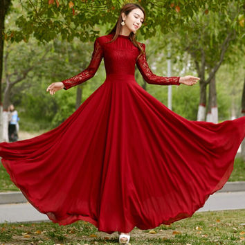 New 2017 Spring Autumn Elegant Vintage Lace Chiffon Long Dress Slim Long Sleeve Wine Red Party Maxi Dresses Vestidos D036