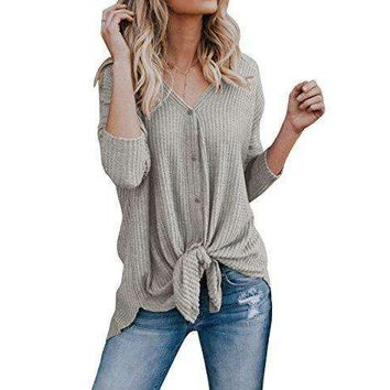 FISACE Womens Henley Shirts V Neck Button Down Solid Long Sleeve Loose Casual Knit Sweaters Tops Blouse (X-Large, Grey)