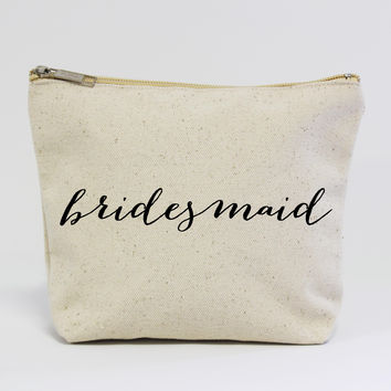 Bridesmaid Calligraphy Canvas Pouch